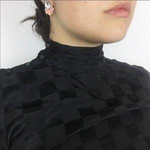 Vintage Dress Checkerboard Elegant Button Collar